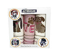 Подарочный набор махровых полотенец с собачкой Altinbashak № 32631