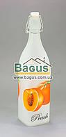 Бутылка стеклянная 1000мл с бугельной пробкой квадратная, белая, матовая (персик) Empire (EM-1873-3)