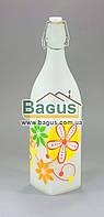 Бутылка стеклянная 1000мл с бугельной пробкой квадратная, белая, матовая (персик) Empire (EM-1873-4)