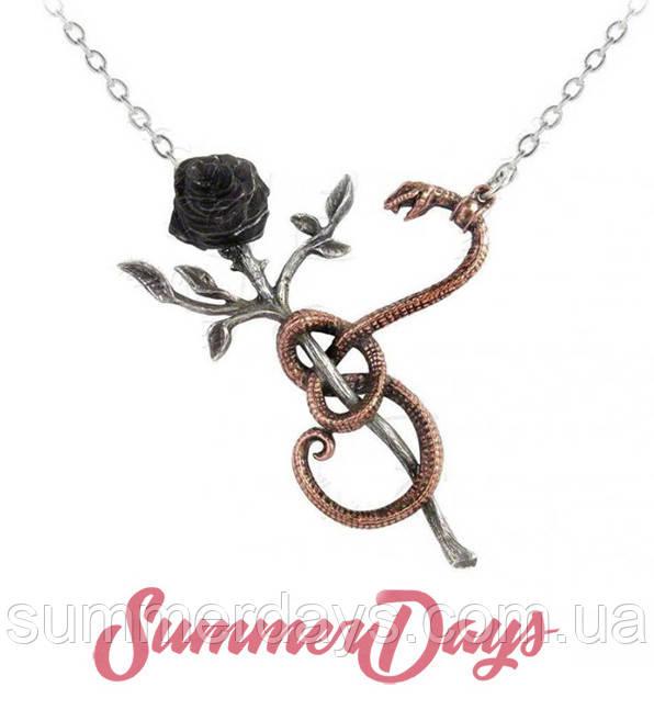 Готическое колье Роза для Евы черная роза