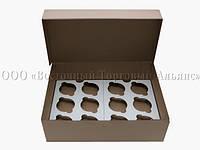 Упаковка для 12 кексів і мафінів - Бура - 355х250х100 мм