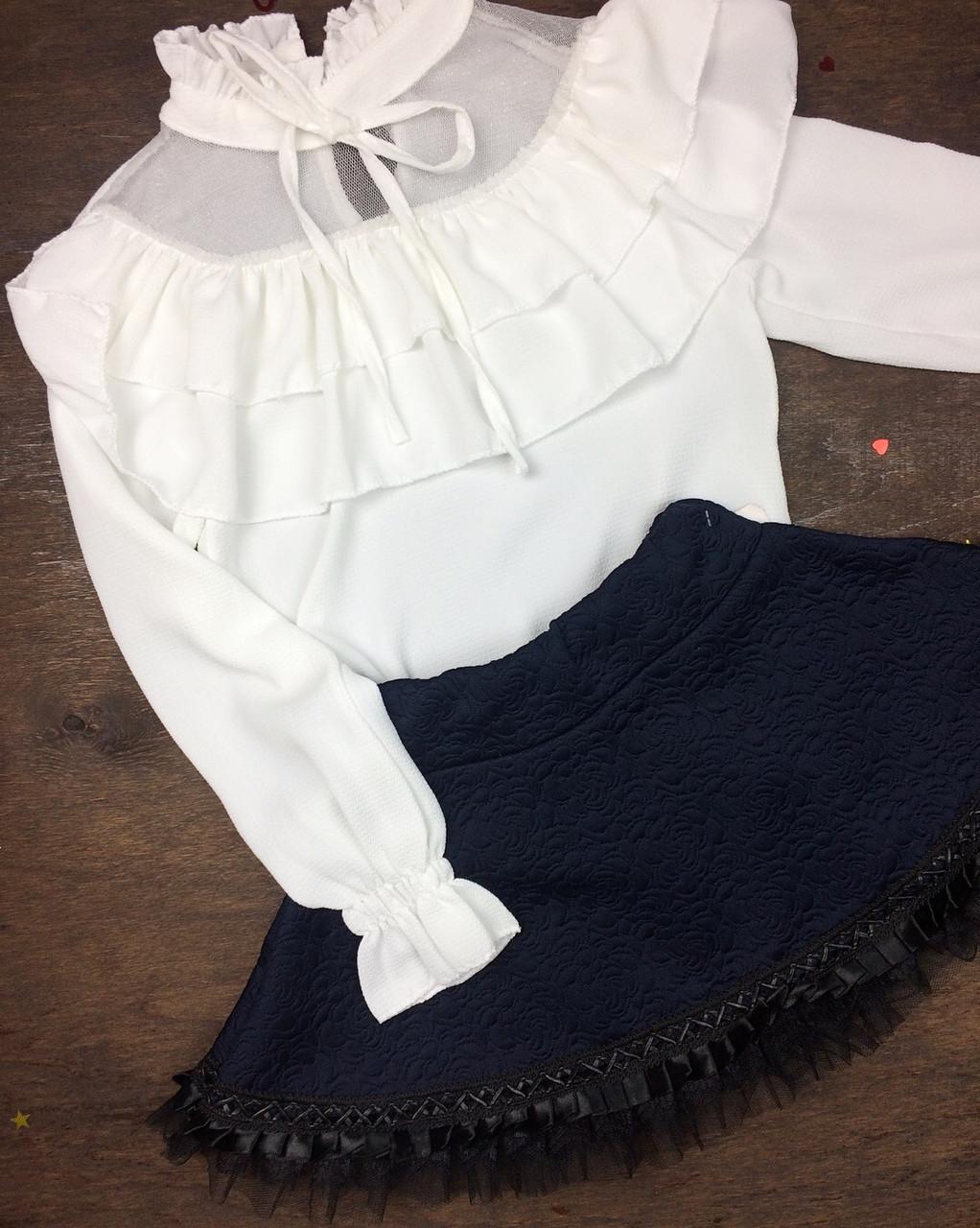 Блузка шифоновая с оборкой