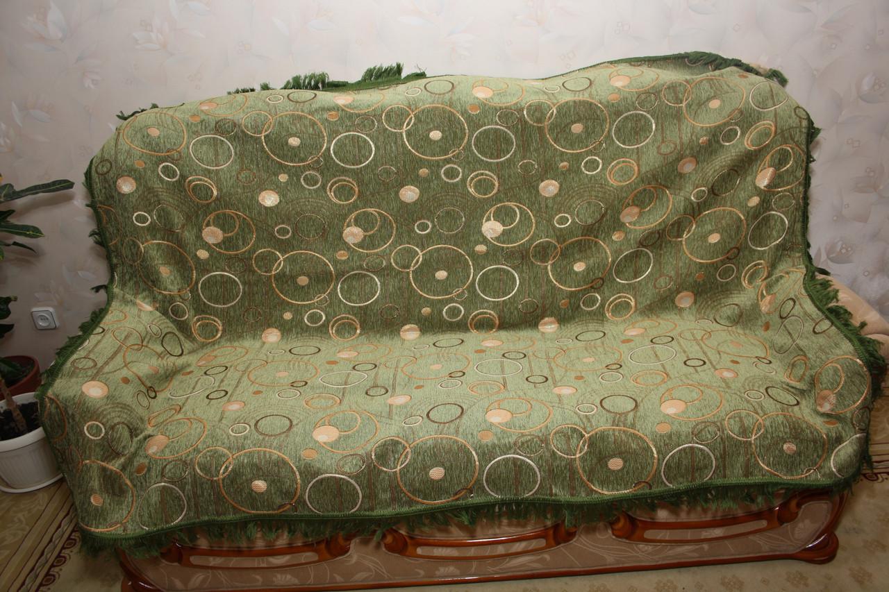 Круги (зеленый) двуспальное покрывало на большую кровать