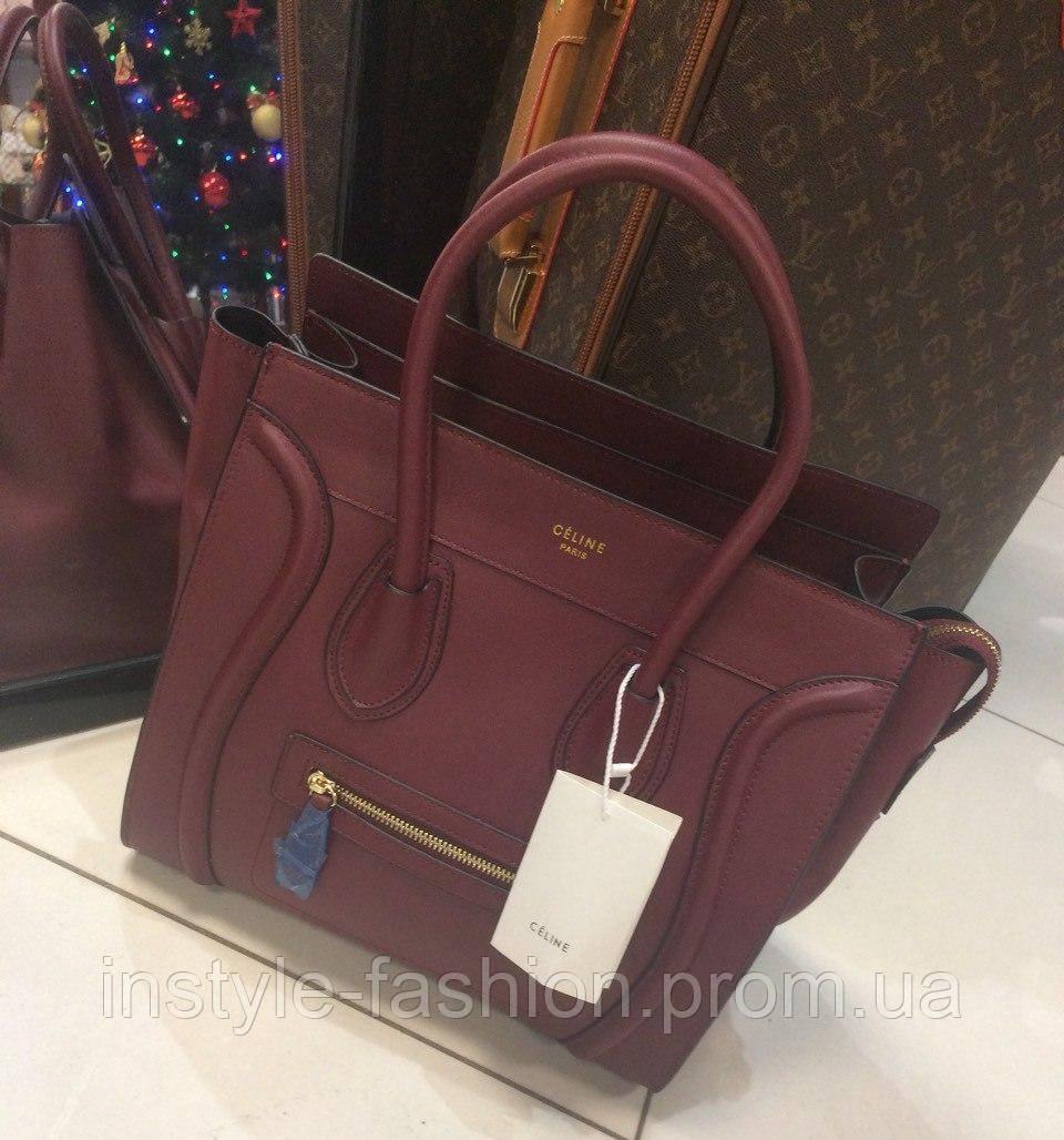 Женская сумка Celine Селин качественная эко-кожа бордовая
