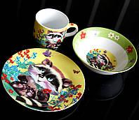 "Набор детской посуды 3 предмета ""Енот"", артикул: С206"