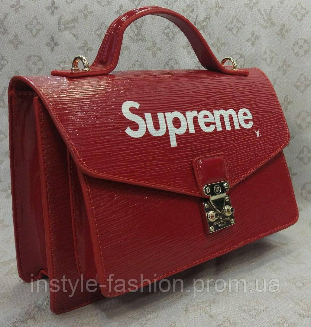 Сумка Louis Vuitton Луи Виттон Supreme качественная эко-кожа красная
