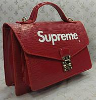 Сумка Louis Vuitton Луи Виттон Supreme качественная эко-кожа красная, фото 1