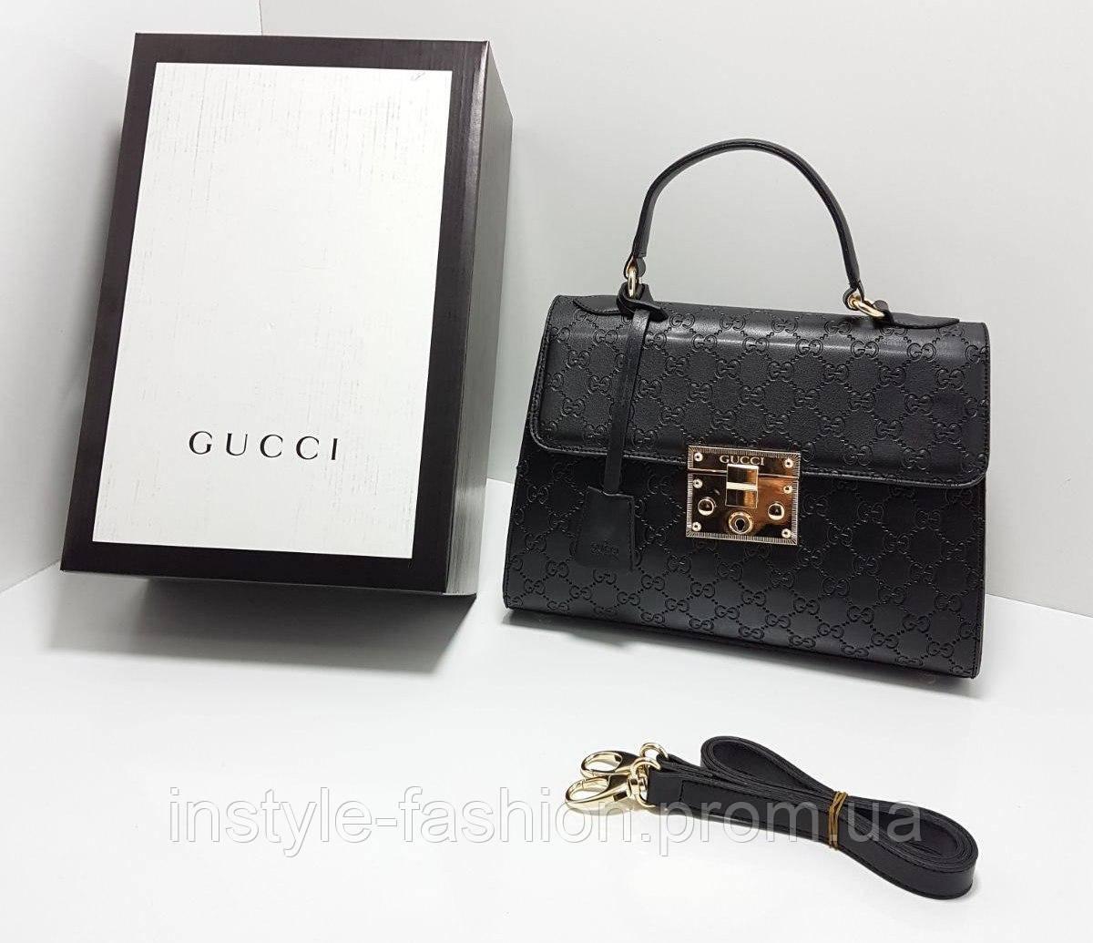 Сумка клатч через плечо Gucci Гуччи качественная эко-кожа черная