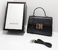Сумка клатч через плечо Gucci Гуччи качественная эко-кожа черная, фото 1