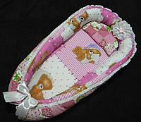 """Гнездышко-кокон для новорожденного """"Мишка в латках"""" розовый"""