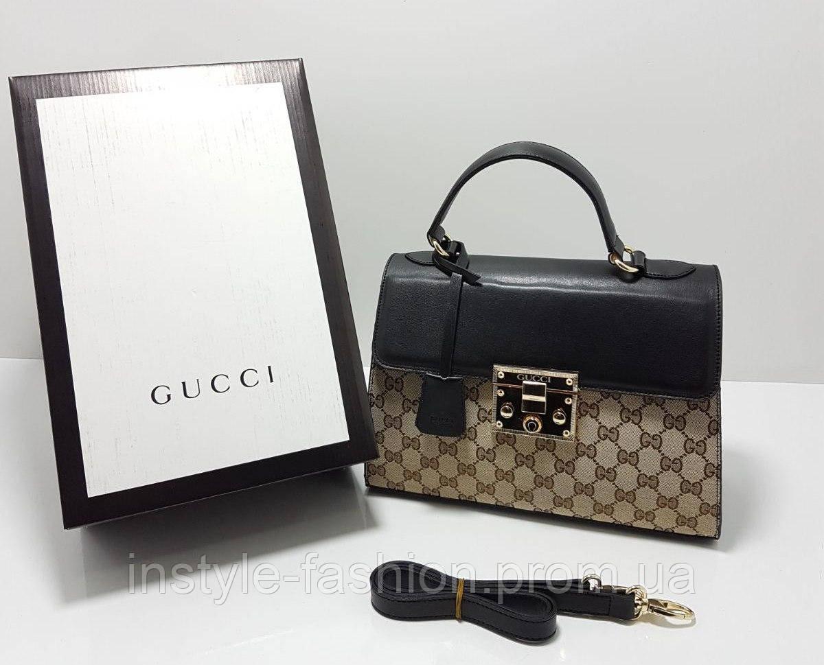 Сумка клатч через плечо Gucci Гуччи качественная эко-кожа черная с коричневым