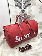 Сумка дорожная Louis Vuitton Supreme качественная эко-кожа красная