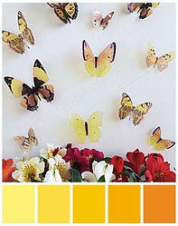 3D метелики об'ємні жовті