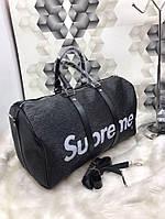 Сумка дорожная Louis Vuitton Supreme качественная эко-кожа черная