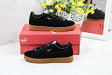 Кроссовки женские Puma Suede замшевые,черные, фото 3