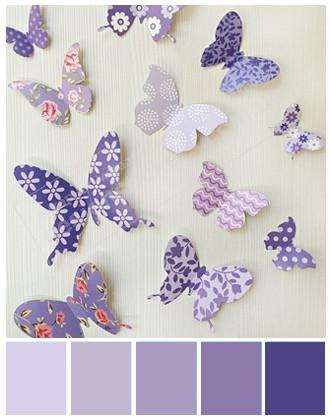 Декор на стіну 3D метелики фіолетові