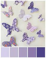 Декор на стену 3D бабочки фиолетовые