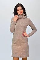 Красивое  женское трикотажное платье цвет пудра