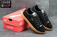 Мужские кроссовки Puma Suede, цвет - черные, материал - замша, подошва - вулканизированная резина