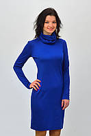 Красивое  женское трикотажное платье синего цвета с воротником хомут размер  36, 38, 40, 42, 44