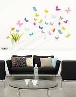 """Виниловые наклейки на стены в детскую """"Разноцветные бабочки"""""""