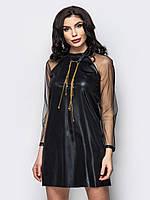 Черное платье-мини из легкого фатина р.44,46,48,50