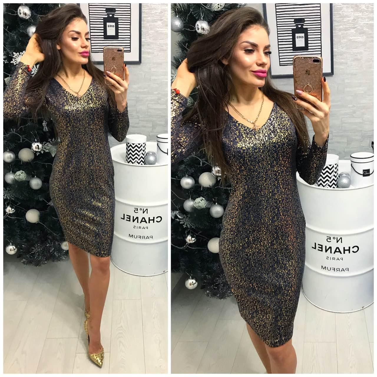 fd85a80fd01 Платье женское (801 2) турецкий трикотаж люрекс черное золото ...