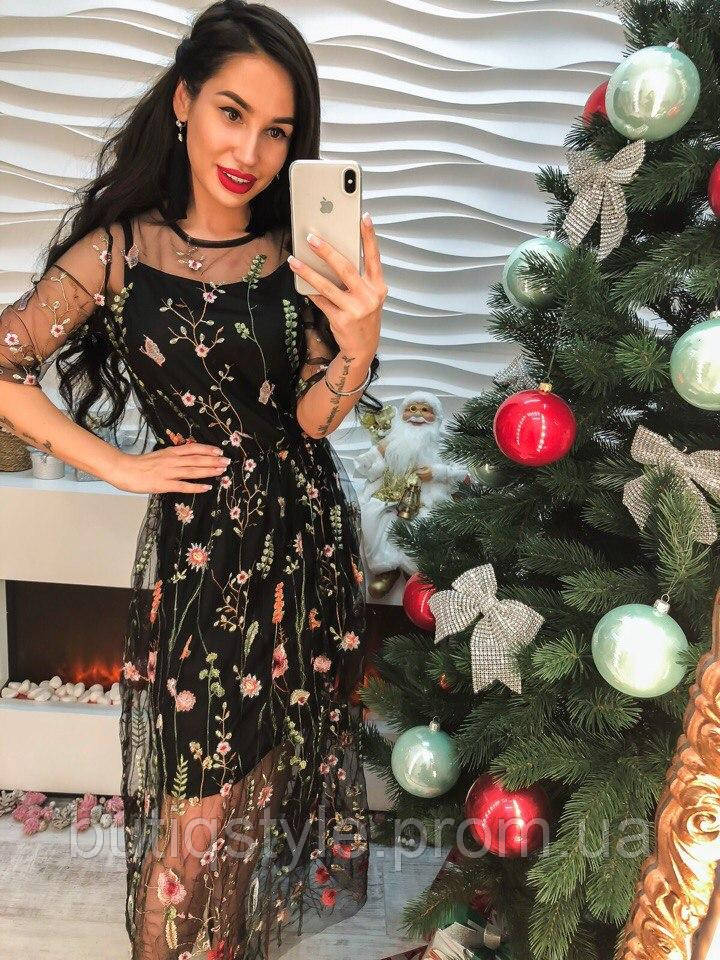 ffc72abe5af Красивое черное платье органза с вышивкой -