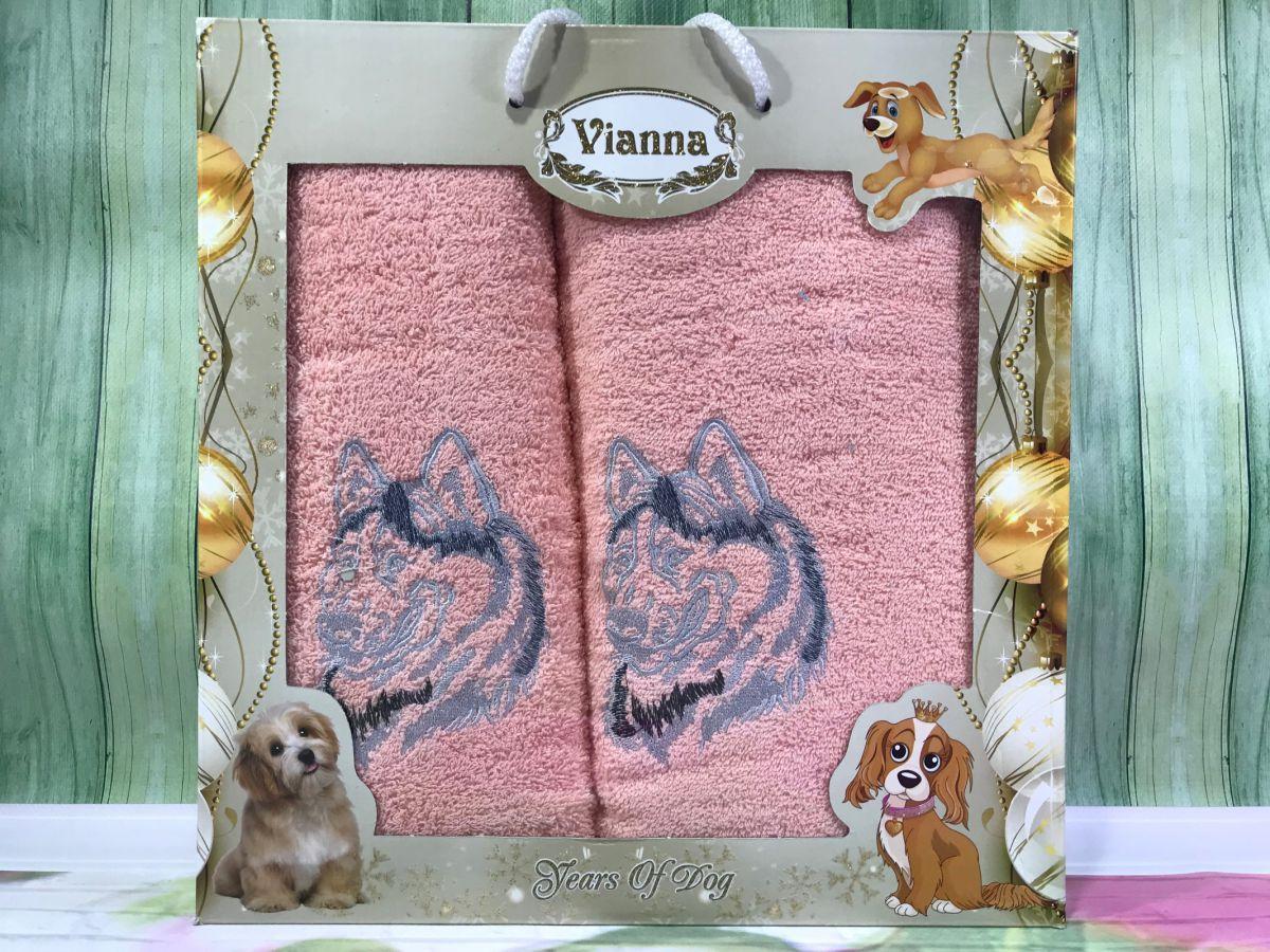 Подарочный набор махровых полотенец Vianna (баня+лицо) № 32674