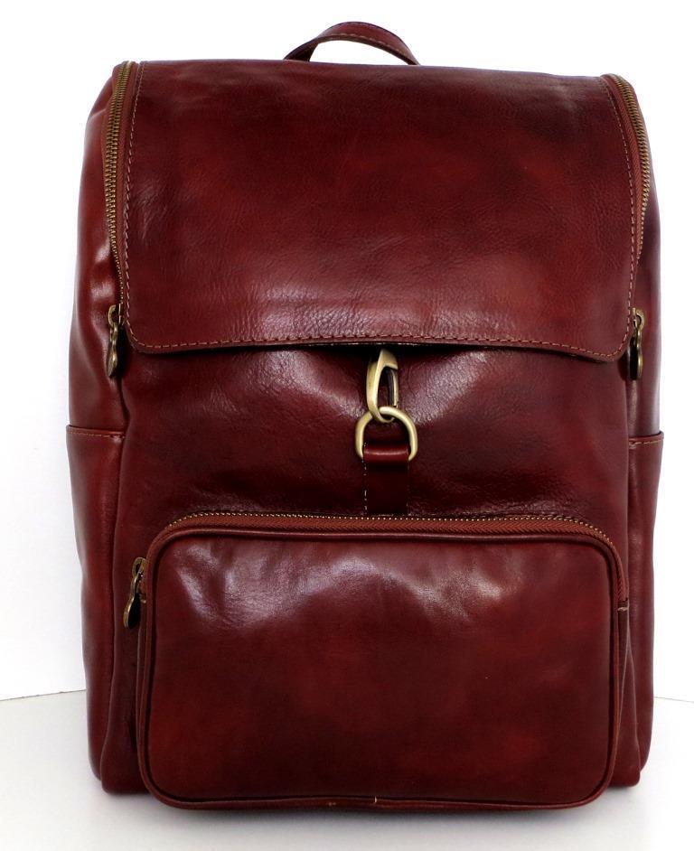 Вместительный рюкзак унисекс. Натуральная кожа. Коричневий. Италия