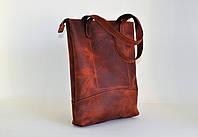 Кожаная женская сумка-шопер цвета коньяк
