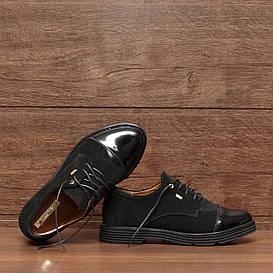 71121| Женские туфли на низком ходу. Черные из замши со шнуровкой