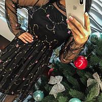 Красивое модное платье органза с вышивкой черное, молочное