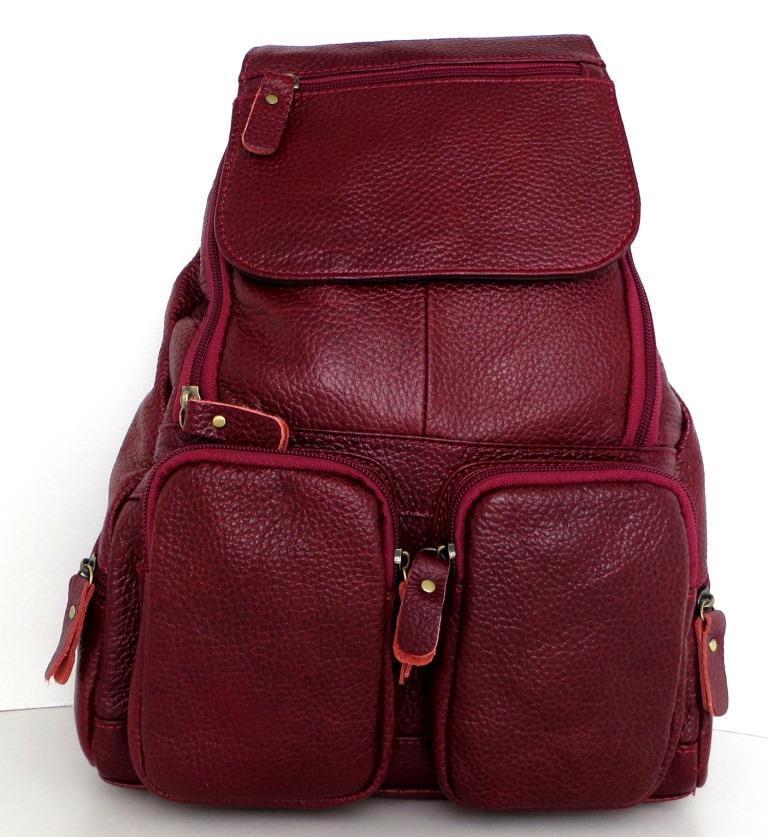Рюкзак женский.  Бордовый. Натуральная кожа