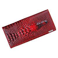 """Женский кожаный кошелек """"Крокодил"""" Красный"""