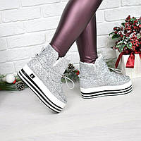 Сникерсы женские Steffy серебро сахар ЗИМА, ботинки женские