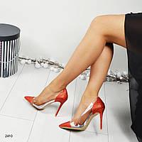 Женские блестящие туфли с силиконовой вставкой красные