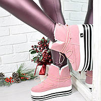 Сникерсы женские Steffy розовые ЗИМА, ботинки женские