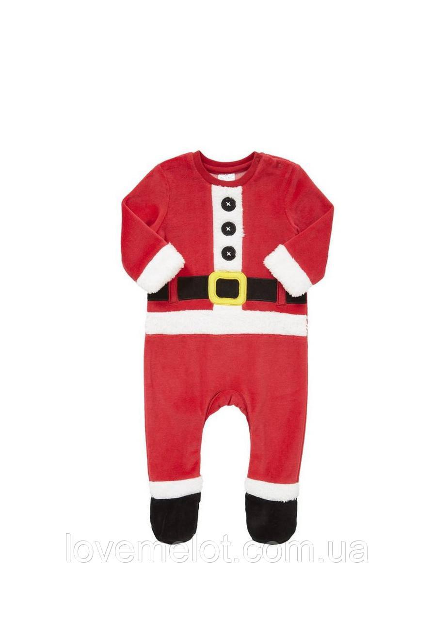 """Велюровый новогодний человечек """"Санта - весельчак"""", карнавальный костюм для ребенка Дед Мороз рост 74см, 80см"""