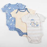 """Бодики для новорожденных George """"Пингвинята"""", размер 62 см, набор 3 шт"""