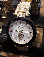 Часы Versace 115248 черные с белым циферблатом женские круглые на металлическом браслете диаметр 3,5 см