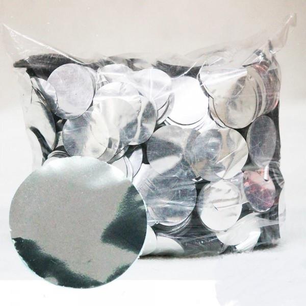 Конфетти кружочки, серебряные 23 мм, 50 грамм