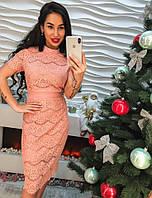 Стильное кружевное женское платье миди пудра