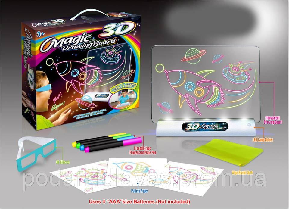 Доска для рисования с подсветкой и 3D эффектом , развивающая  игра для детей от 5 до 7х лет