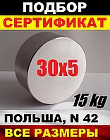 Неодимовый магнит мебельный, крепежный, держатель, 30*5мм, 15кг, N42, 55*25, все размеры
