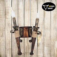 Факел из дерева на две свечи