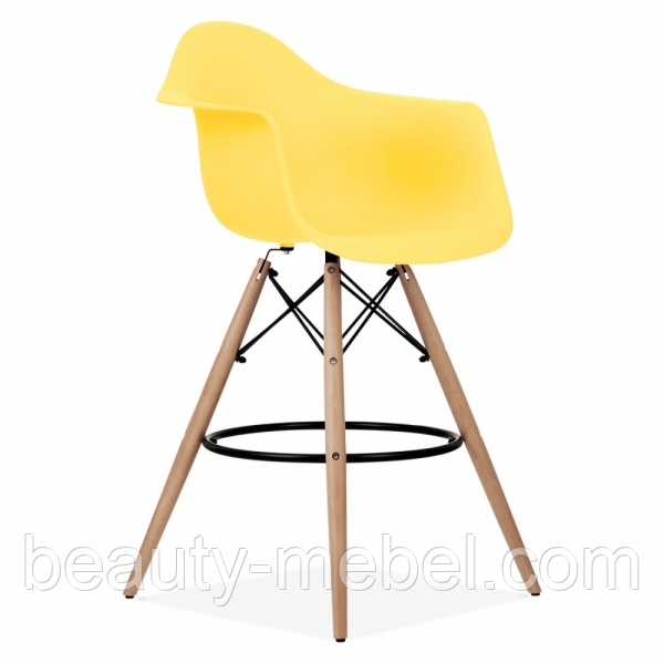 Стул для визажиста, барный Тауэр Вуд Eames, цвет желтый