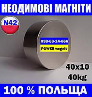 Тонкий магніт неодимовий 40*10*40кг, N42, ПОЛЬША,у Сумах