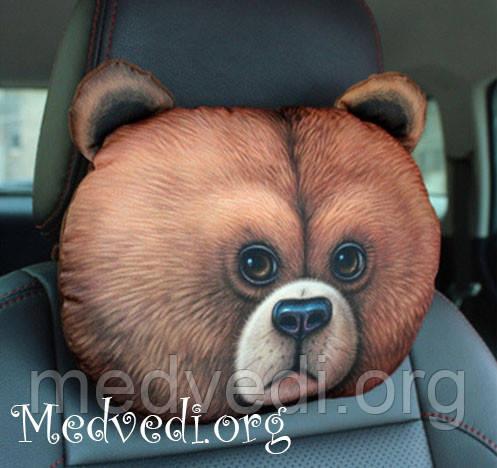 Подушка-підголівник ведмідь, для авто, 3 D принт