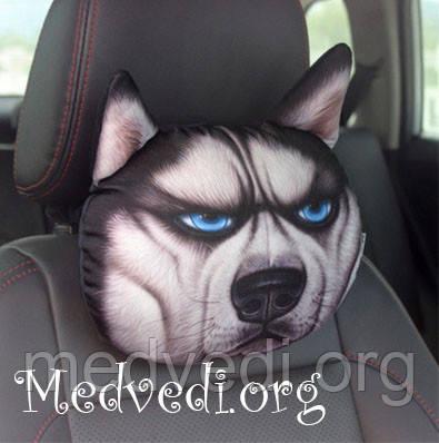 Подушка-подголовник для автомобилей, 3 D принт собака хаски